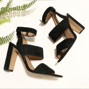 Madewell Octavia black suede block heel sz 8.5